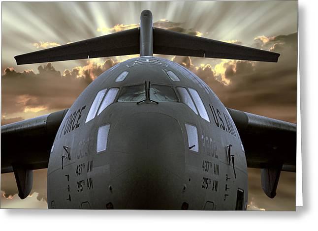 C-17 Globemaster Military Transport Aircraft Greeting Card by Daniel Hagerman