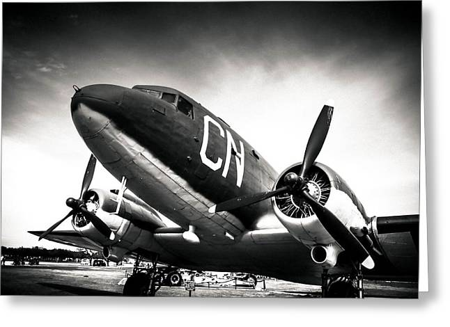 C-47d Skytrain Black And White Greeting Card