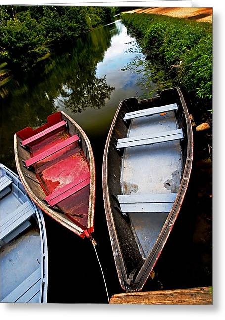 C And O Canal With Rowboats Greeting Card