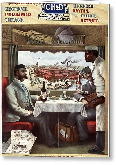 C H And D Railroad Luxury Dining 1894 Greeting Card