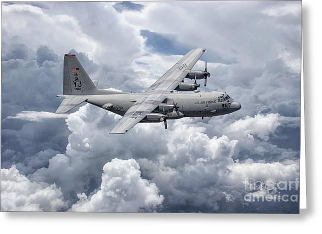 C130 36th Airlift Greeting Card by J Biggadike