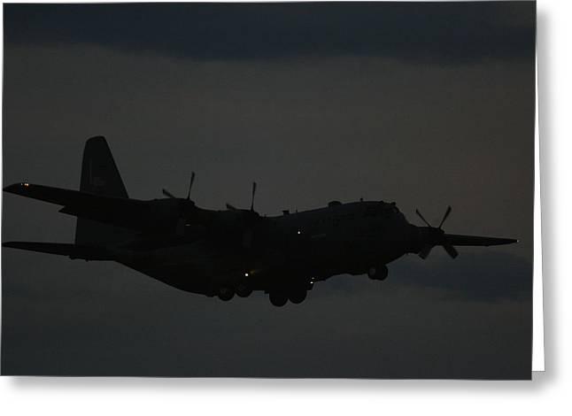 C130 Hercules Night Flight Greeting Card