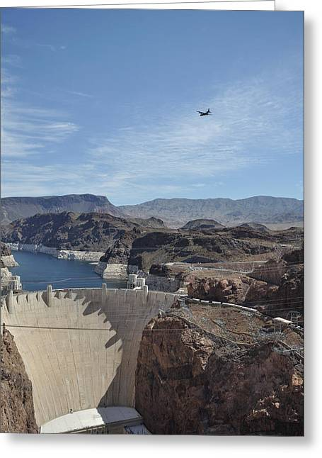 Hoover Dam Greeting Cards - C130 over Hoover Dam Greeting Card by Mark Highfield