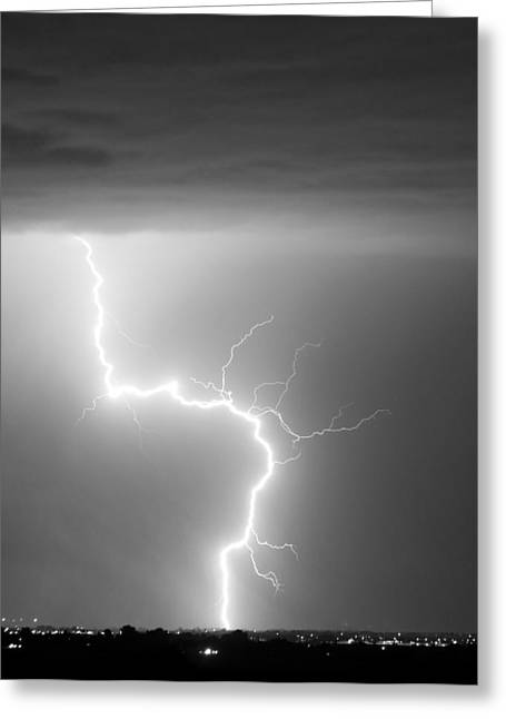 Storm Prints Photographs Greeting Cards - C2G Lightning Strike in Black and White Greeting Card by James BO  Insogna