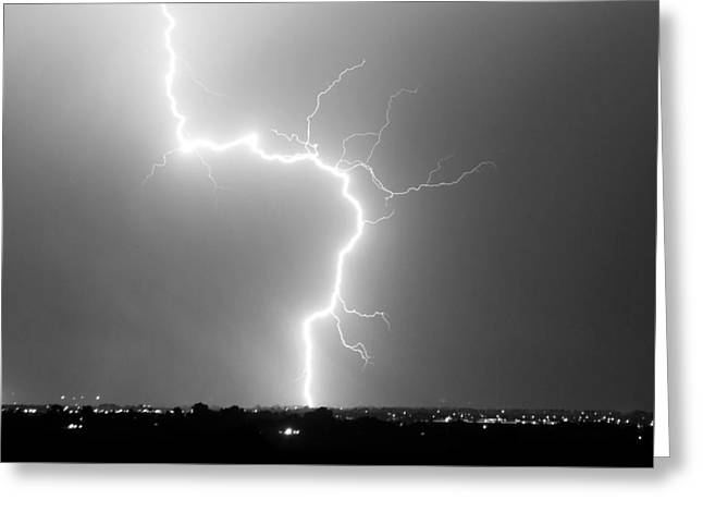 C2g Lightning Strike In Black And White Greeting Card