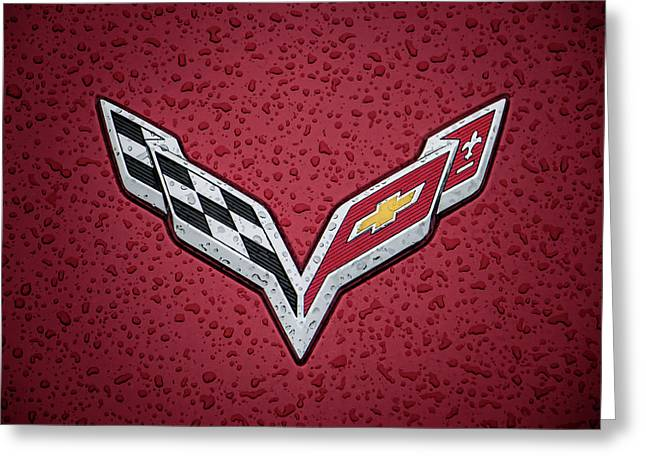C7 Badge Red Greeting Card