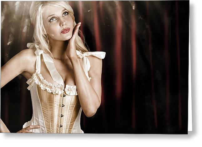 Cabaret Showgirl On Smoky Theater Stage Greeting Card by Jorgo Photography - Wall Art Gallery