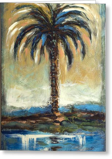 Greeting Card featuring the painting Cabbage Palm Antiqued by Linda Olsen