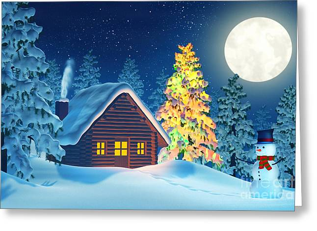 Cabin And A Christmas Tree And A Snowman In Winter Landscape At Night Greeting Card