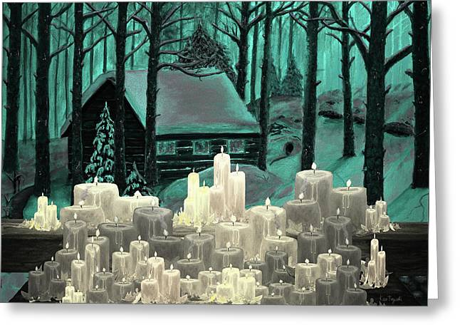 Cabin And Candles Greeting Card by Ken Figurski