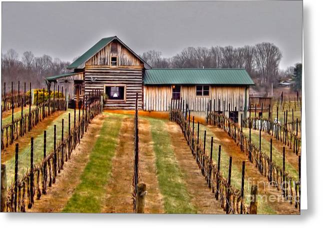 Cabin At Autumn Creek Vineyard Greeting Card by Christy Ricafrente