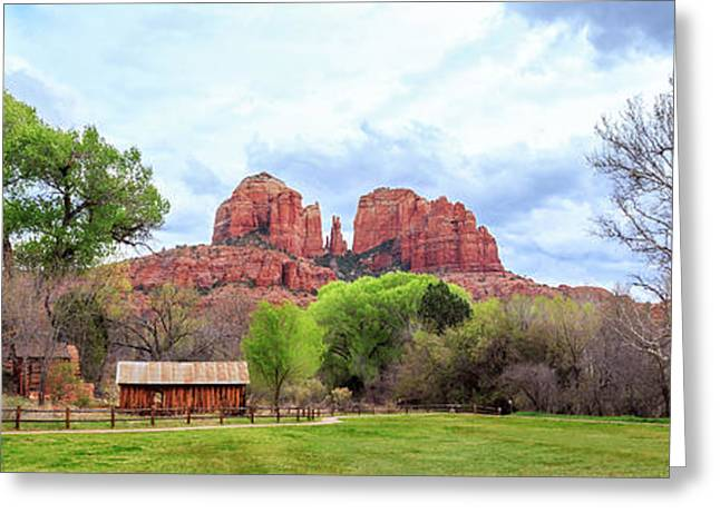 Greeting Card featuring the photograph Cabin At Cathedral Rock Panorama by James Eddy