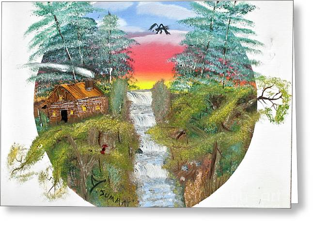 Cabin By The Falls Greeting Card