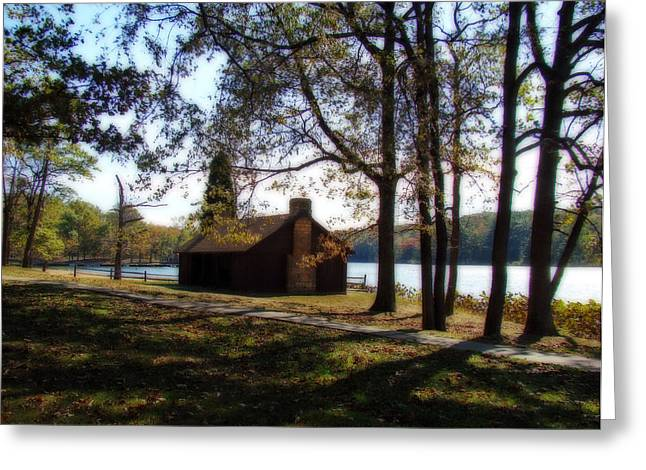 Cabin By The Lake Greeting Card by Sandy Keeton