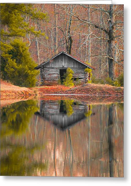 Cabin By The Lake Vertical Greeting Card by Shelby  Young