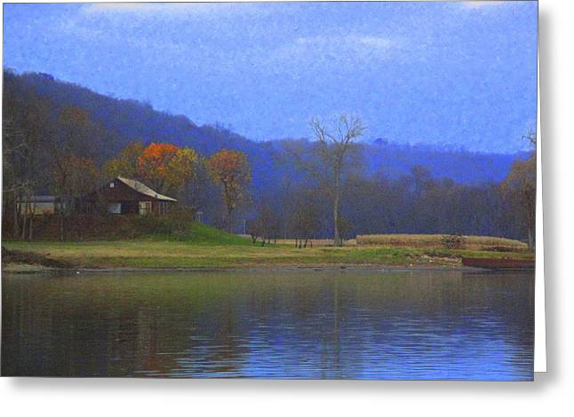 Cabin By The Ohio River Greeting Card by Terry  Wiley