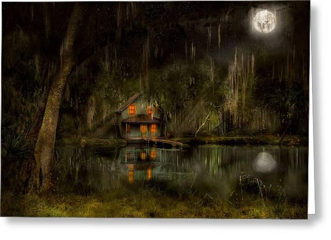Cabin - De Land, Fl - Restless Night 1904 Greeting Card by Mike Savad