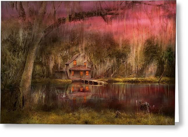 Cabin - De Land, Fl - Summer Cottage 1904 Greeting Card by Mike Savad