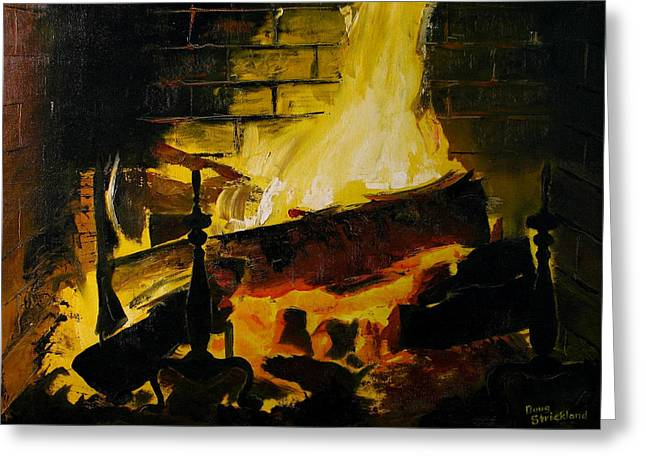 Cabin Fireplace Painting by Doug Strickland