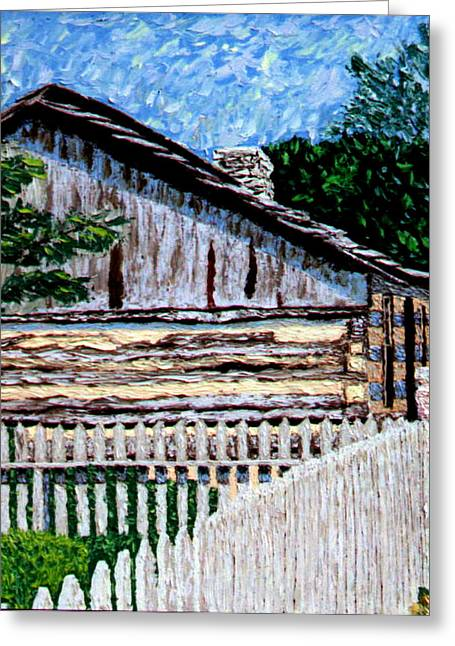 Cabin In Knife Greeting Card by Stan Hamilton