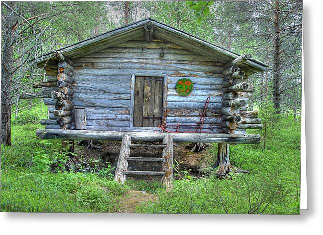 Cabin In Lapland Forest Greeting Card by Merja Waters