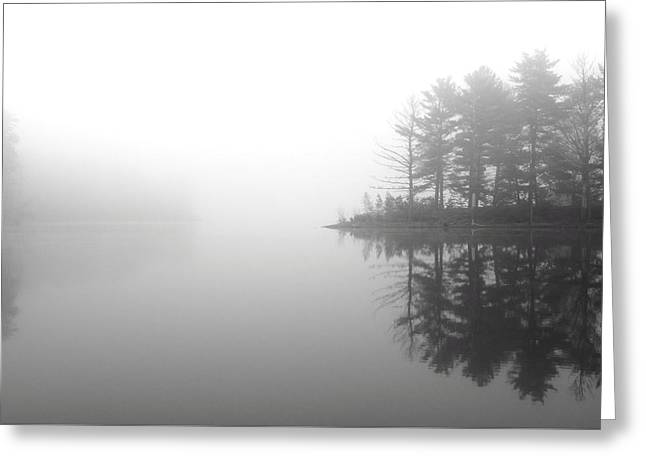 Cabin In The Foggy Woods Greeting Card