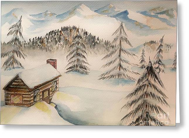 Cabin In The Rockies Greeting Card