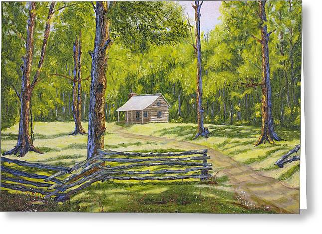 Cabin In The Smokies Greeting Card by  Jude  Trafficano