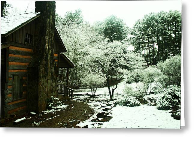Old Cabins Digital Art Greeting Cards - Cabin in the Snow Greeting Card by Adam LeCroy