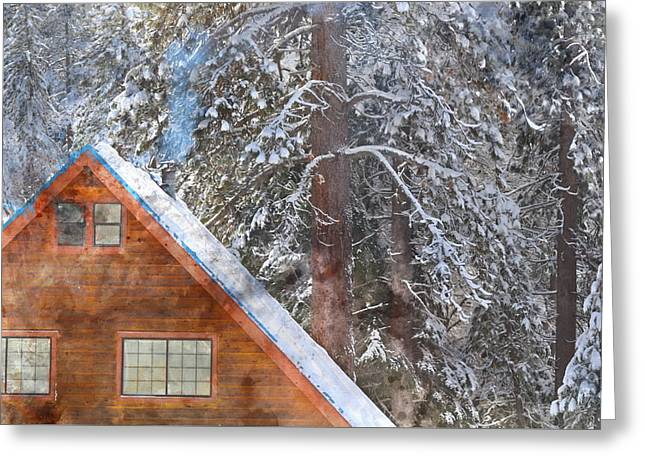 Cabin In The Snow Greeting Card by Brandon Bourdages