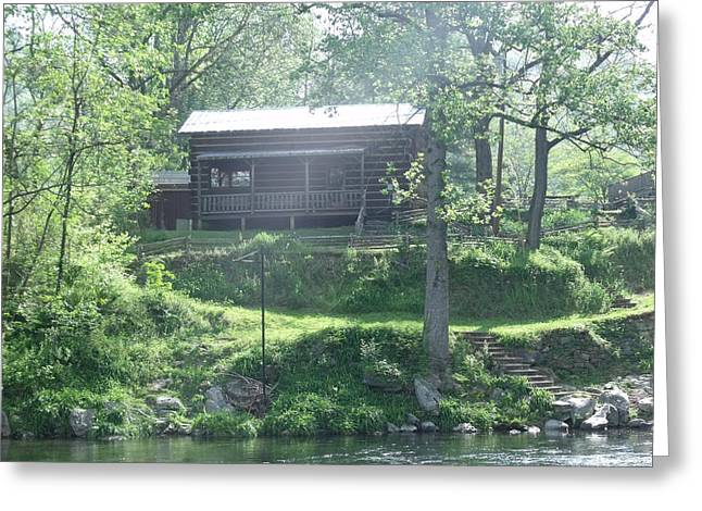 Cabin In The Woods Greeting Card by Ann Robinson