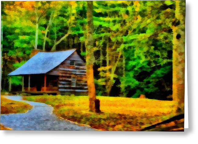 Cabin In The Woods Greeting Card by Dan Sproul
