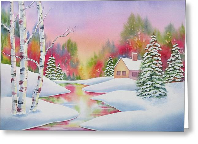 Cabin In The Woods Greeting Card by Deborah Ronglien