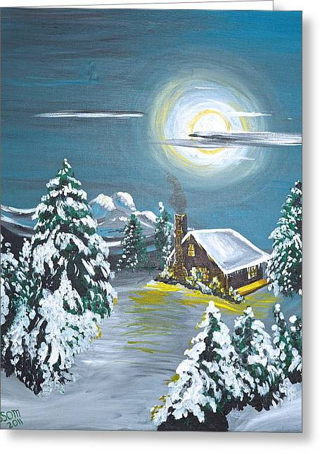 Cabin In The Woods Greeting Card by Donna Blossom