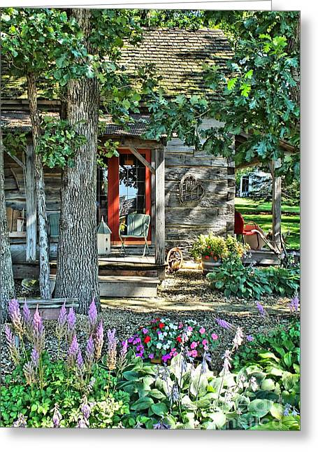 Cabin In The Woods Greeting Card by Jimmy Ostgard