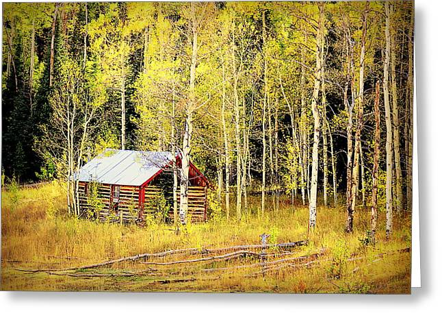 Cabin In The Golden Woods Greeting Card