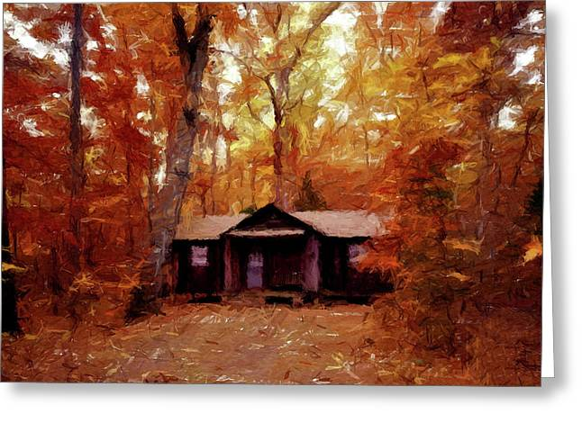 Greeting Card featuring the painting Cabin In The Woods P D P by David Dehner