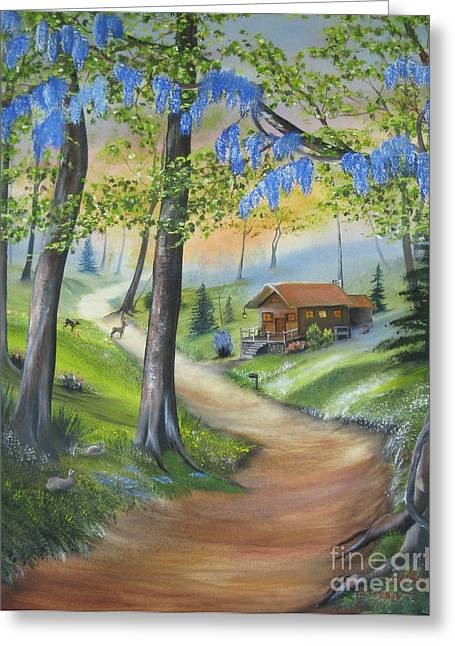 Cabin In The Woods Greeting Card by RJ McNall