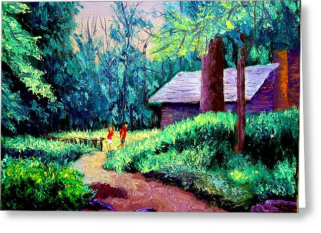 Cabin In Woods Greeting Card by Stan Hamilton