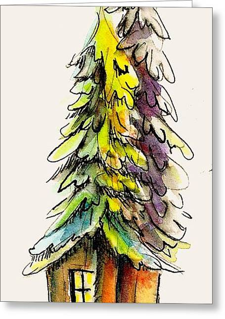 Cabin Greeting Card by KC Winters
