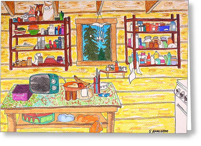 Cabin Kitchen Greeting Card by Sarah Hamilton