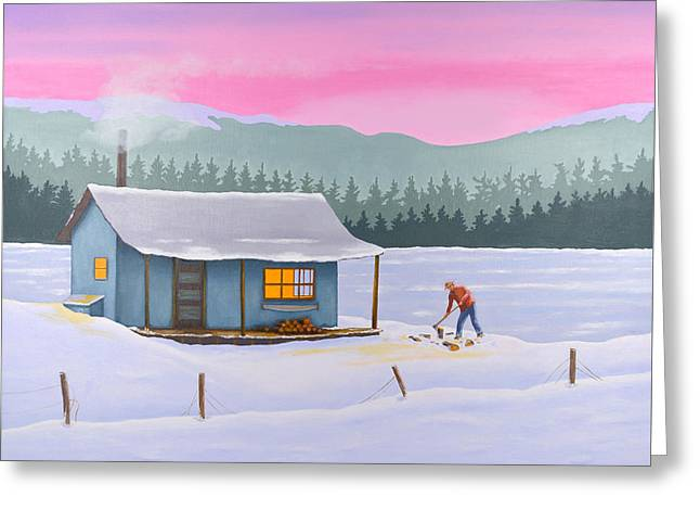 Cabin On A Frozen Lake Greeting Card
