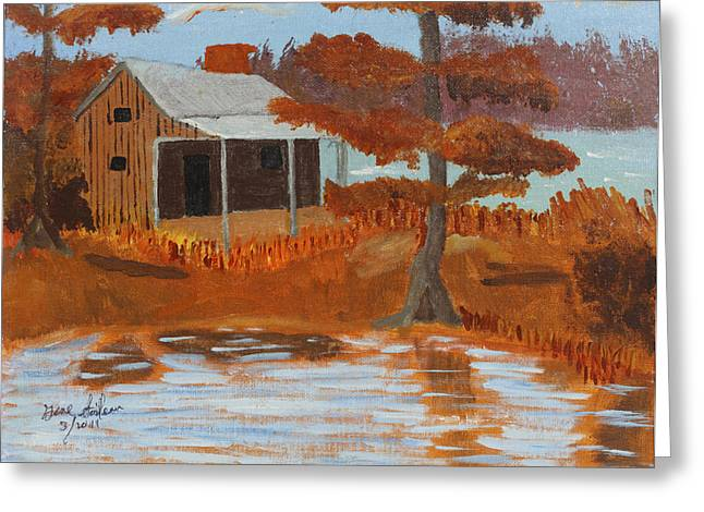 Greeting Card featuring the painting Cabin On Lake by Swabby Soileau