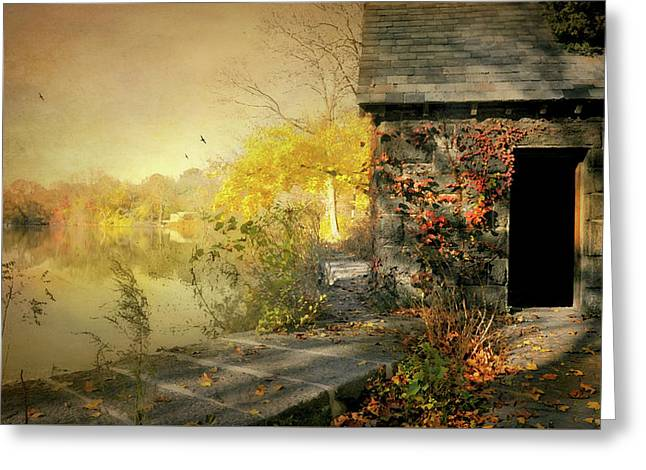 Cabin On The Reservoir Greeting Card by Diana Angstadt