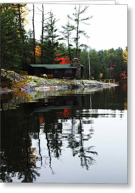 Cabin On The Rocks Greeting Card