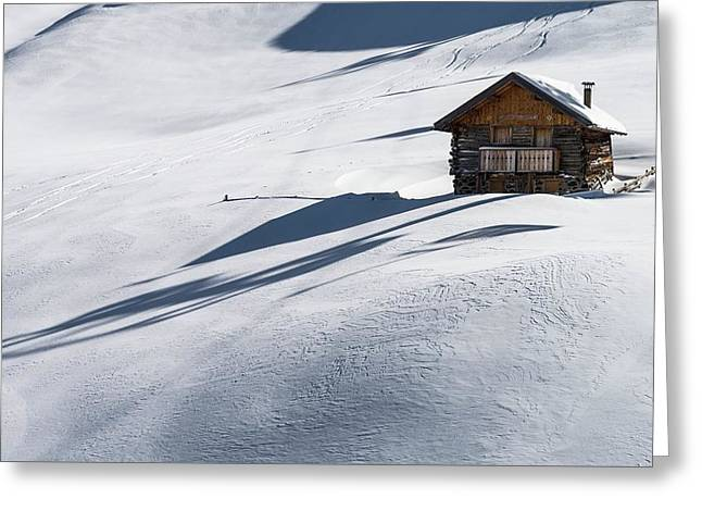 Cabin On The Slope Greeting Card by Carlos Trolese