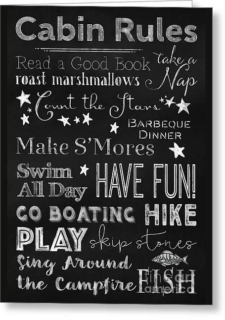 Cabin Rules Lodge Fun Chalkboard Typography Art Greeting Card by Tina Lavoie