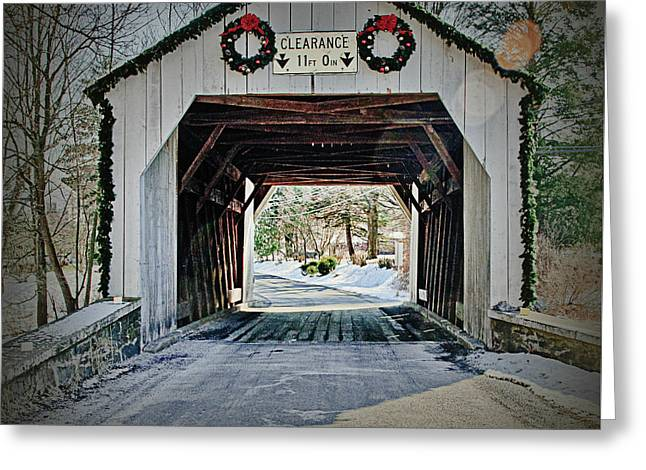 Cabin Run Covered Bridge Greeting Card