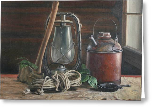 Cabin Still Life Greeting Card by Anna Rose Bain