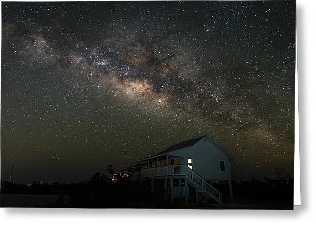 Cabin Under The Milky Way Greeting Card